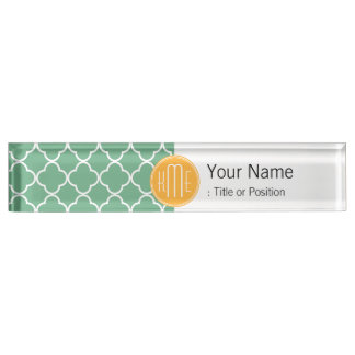 Chic Teal Green Quatrefoil with Yellow Monogram Nameplate