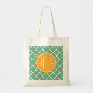 Chic Teal Green Quatrefoil with Yellow Monogram Tote Bag