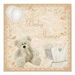 Chic Teddy & Crib Neutral Baby Shower 13 Cm X 13 Cm Square Invitation Card