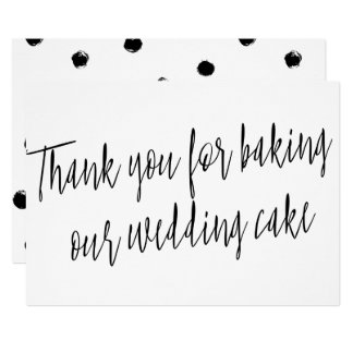 """Chic """"Thank you for baking our wedding cake"""" Card"""