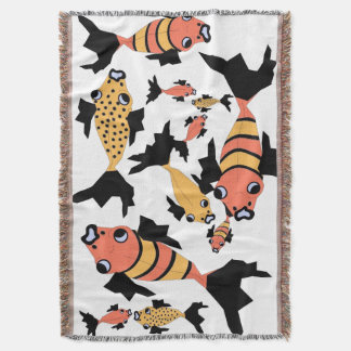 CHIC THROW_GOLD/ORANGE/BLACK FISH THROW BLANKET