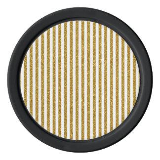 Chic Trendy Gold White Stripes Glitter Photo Print Poker Chips
