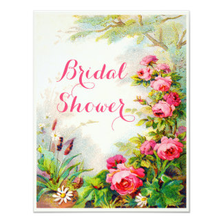 Chic Victorian Roses Cottage Garden Bridal Shower Card