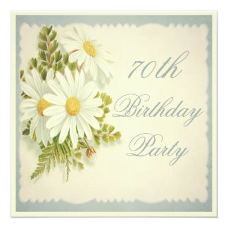 Chic Vintage Daisies 70th Birthday 13 Cm X 13 Cm Square Invitation Card