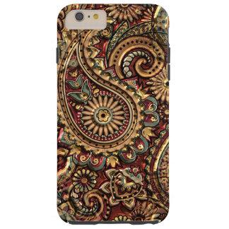 Chic Vintage Faux Gold Paisley Floral Pattern Tough iPhone 6 Plus Case