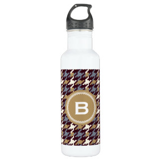 Chic vintage gold brown houndstooth plaid monogram 710 ml water bottle