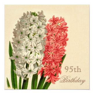 "Chic Vintage Hyacinths 95th Birthday 5.25"" Square Invitation Card"