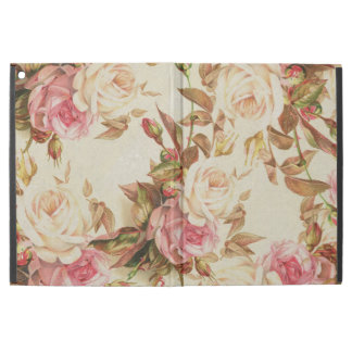 """Chic vintage pink white brown roses floral pattern iPad pro 12.9"""" case"""