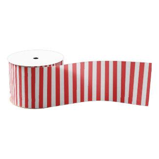 Chic Vintage Red White Stripes Pattern Grosgrain Ribbon