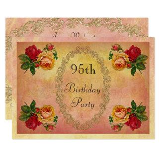Chic Vintage Roses 95th Birthday 13 Cm X 18 Cm Invitation Card