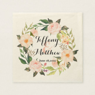 Chic Watercolor Floral Wreath Wedding-2 Paper Serviettes