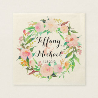 Chic Watercolor Floral Wreath Wedding-3 Paper Napkin