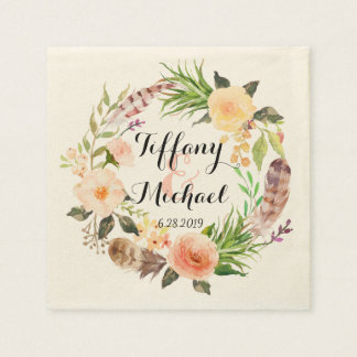 Chic Watercolor Floral Wreath Wedding-5 Paper Serviettes