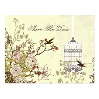 Chic yellow bird cage, love birds save the dates postcard