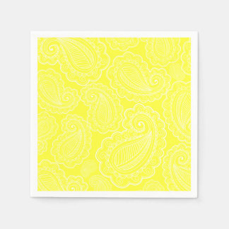 Chic Yellow Paisley Floral Design Wedding Disposable Napkins