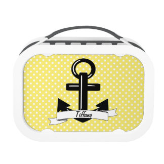 Chic Yellow & White Polka-Dot Personalized Anchor Lunch Box