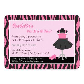 Chic Zebra Print Fashion Girls Birthday Party 11 Cm X 16 Cm Invitation Card