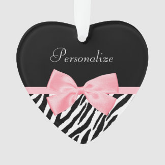 Chic Zebra Print Soft Girly Light Pink Ribbon