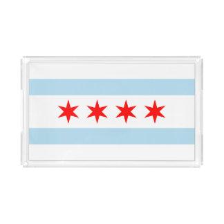 Chicago city flag acrylic tray
