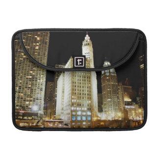Chicago famous landmark at night sleeve for MacBooks