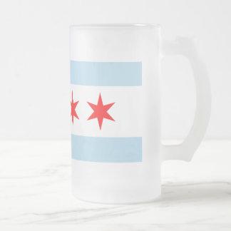 Chicago Flag 16 Oz Frosted Glass Beer Mug
