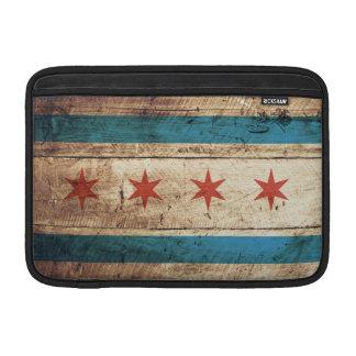 Chicago Flag on Old Wood Grain MacBook Sleeve