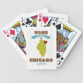 Chicago, Illinois Map – Home Is Where The Heart Is Bicycle Playing Cards