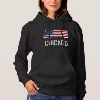 Chicago Illinois Skyline American Flag Hoodie
