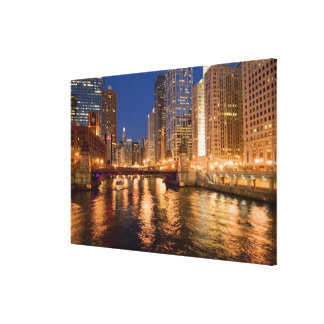 Chicago, Illinois, Skyline and Chicago River at 2 Canvas Print