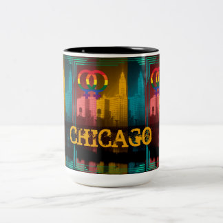 Chicago Lesbian Interest Colorful Pride Gay Two-Tone Coffee Mug