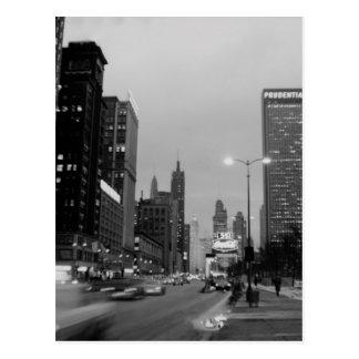 Chicago Michigan Avenue @ Night March 6, 1967 Postcard