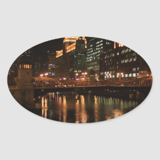 Chicago River Oval Sticker
