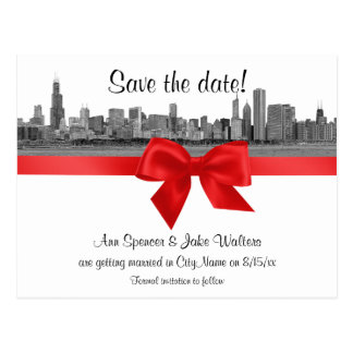 Chicago Skyline Etched BW Red Save the Date Postcard