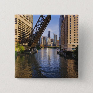Chicago Skyline from the Kinzie St Bridge 15 Cm Square Badge