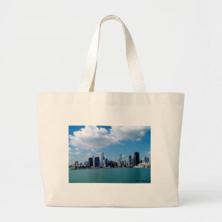 Chicago skyline view from Navy Pier Large Tote Bag