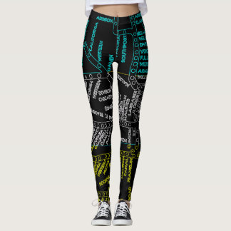 Chicago Subway Train Vintage System Map Route NEON Leggings