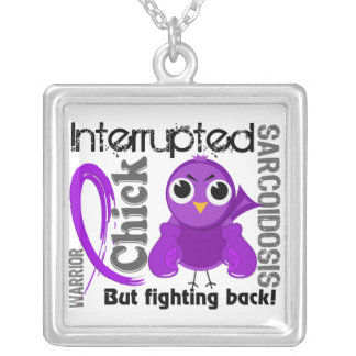 Chick Interrupted 3 Sarcoidosis Square Pendant Necklace