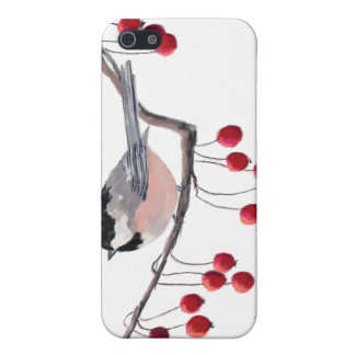 CHICKADEE & RED BERRIES by SHARON SHARPE iPhone 5/5S Cases