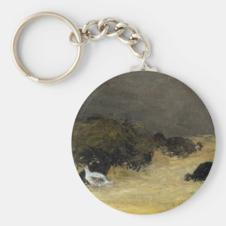 Chicken Coop by Paul Gauguin Basic Round Button Key Ring