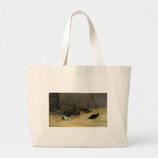 Chicken Coop by Paul Gauguin Large Tote Bag