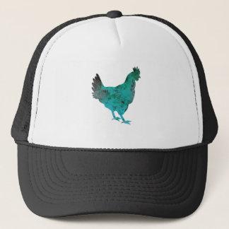 Chicken Hen Teal Blue on White Background Trucker Hat