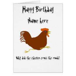 Funny chicken birthday cards invitations zazzle chicken on birthday card customize corny joke bookmarktalkfo Choice Image