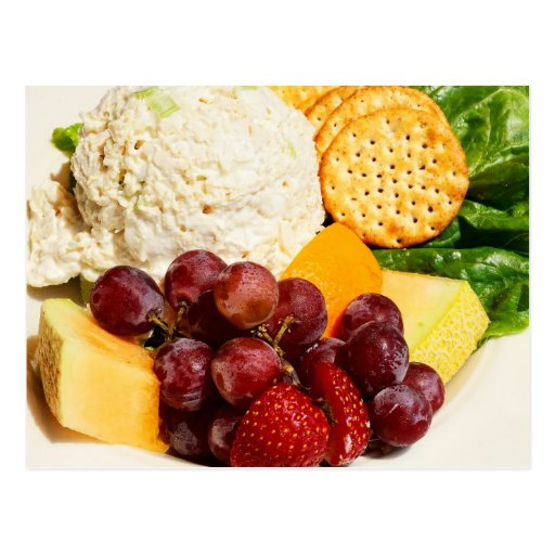 Chicken Salad with fruits & crackers Post Cards