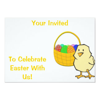 Chicken With Easter Basket Invitations