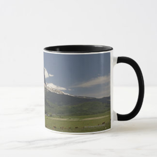 Chief Mountain With Pastures Of Grazing Cattle Mug