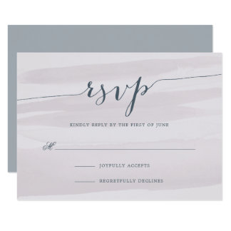 Chiffon Watercolor RSVP Card | Gray Lilac 9 Cm X 13 Cm Invitation Card