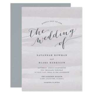 Chiffon Watercolor Wedding Invitation | Gray Lilac