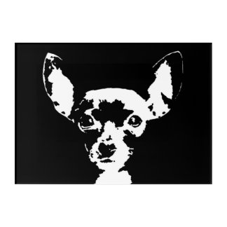 Chihuahua Black & White Acrylic Wall Art