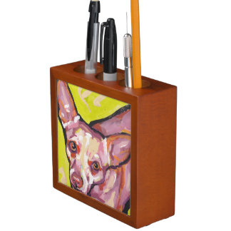 Chihuahua Bright Colorful Pop Dog Art Desk Organiser
