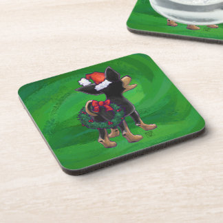 Chihuahua Christmas On Green Coaster